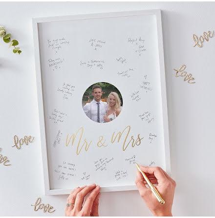 Gästboksram Mr & Mrs - Gold wedding