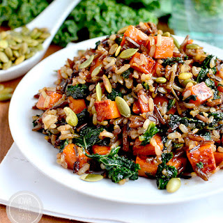 Caramelized Sweet Potato and Kale Fried Wild Rice.
