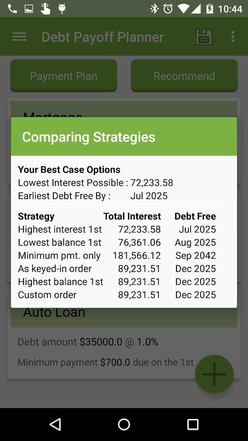 Debt Payoff Planner- screenshot