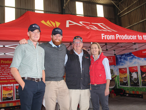 Zac Tomlinson (AGT grain buyer), Paddy Ryan (former Waratahs/Wallabies prop), Peter Wilson (AGT Australia chief executive) and Kylie Carrigan (AGT acquisition manager) at AGT Foods Australia's barbecue lunch last Thursday.