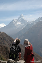 Photo: Roger points out the route he climbed on Ama Dablam to Vik