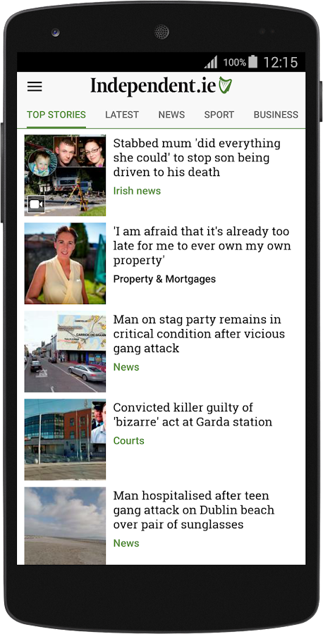 Irish Independent News- screenshot