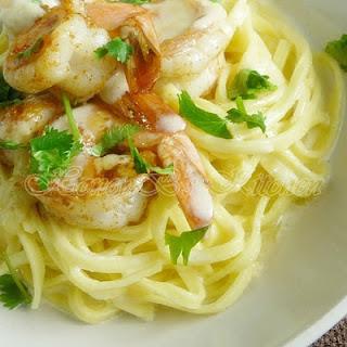 Cajun Shrimp with Linguini and Creamy Pasta Sauce.