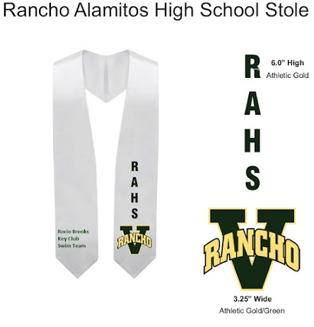 Standard Stole will have school letters and emblem on the left side.  You may add 3 lines of text on the right side by choosing the Custom Stole. Cost $20.