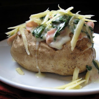 Ham and Spinach Stuffed Baked Potatoes