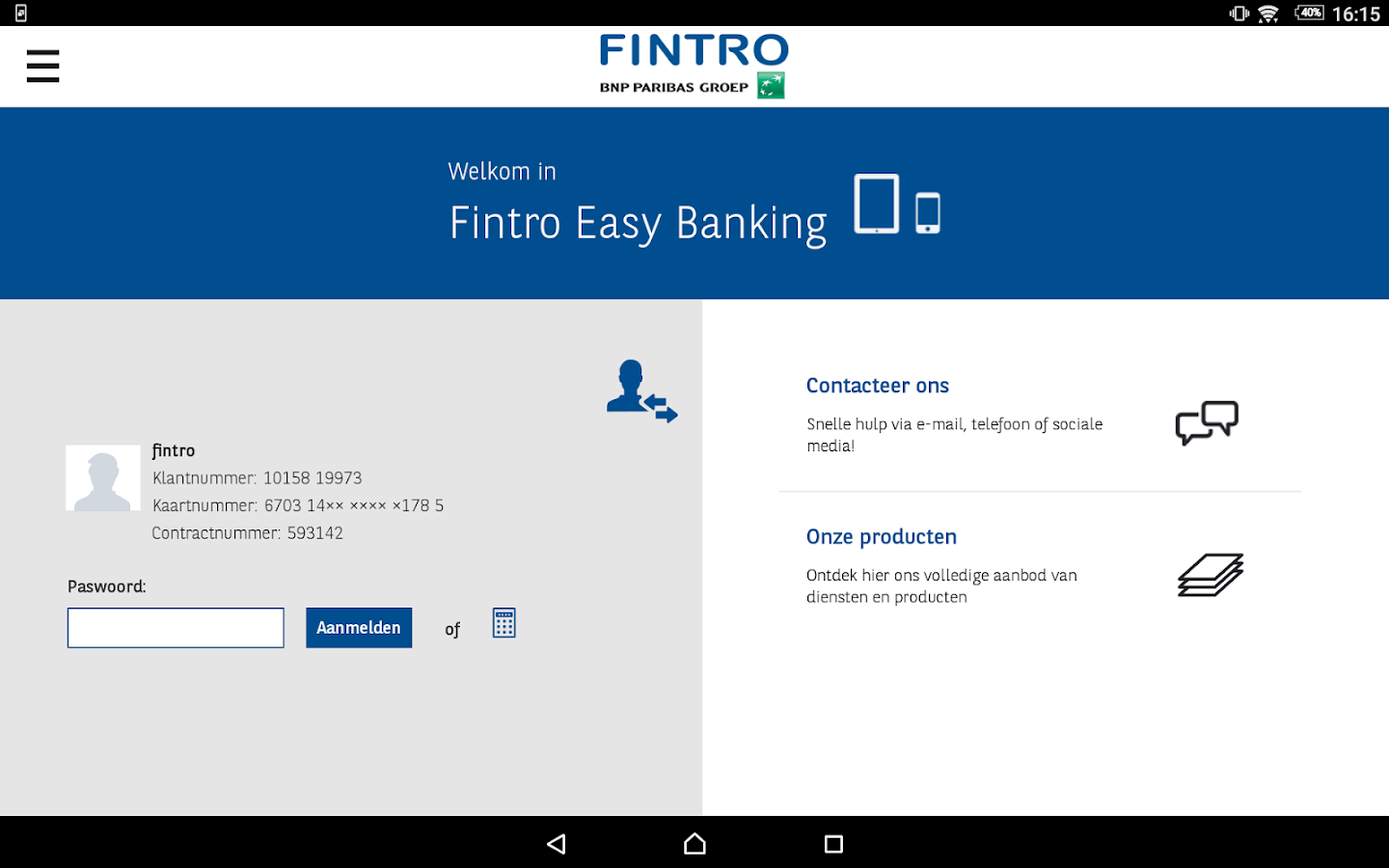Fintro Easy Banking: screenshot