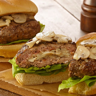 Mushroom and Swiss Stuffed Burgers.
