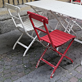 Two Chairs by John Noone - City,  Street & Park  Street Scenes ( red, white, urban, street scene, chairs )