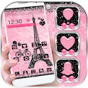 Rose Pink Paris Eiffel Tower Launcher Theme icon