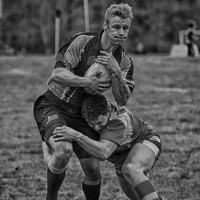 Tackled by James Booth - Sports & Fitness Rugby ( monochrome, black and white, sports, white, team, rugby, black,  )