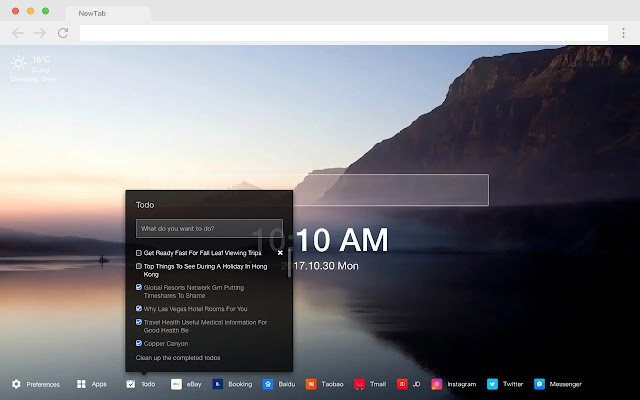 Sunset glow new tab HD pop landscape theme