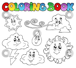 Photo: Coloring book with weather images - vector illustration.