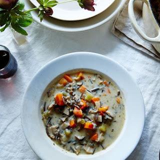 Vegan Cream of Mushroom and Wild Rice Soup.