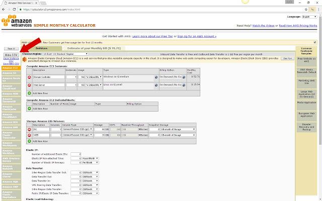 AWS Cost Calculator CSV Export