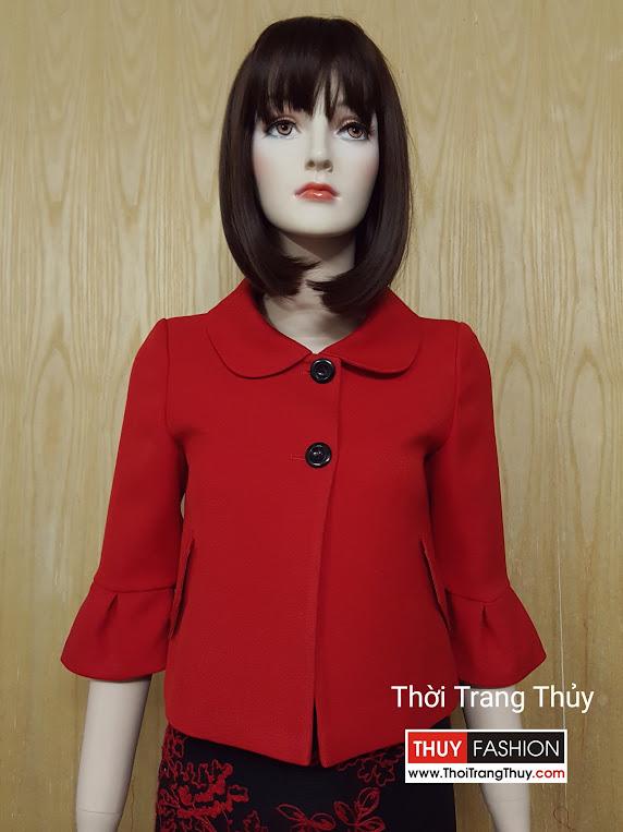 Áo khoác nữ dáng ngắn cổ cánh sen V510 Thuy Fashion