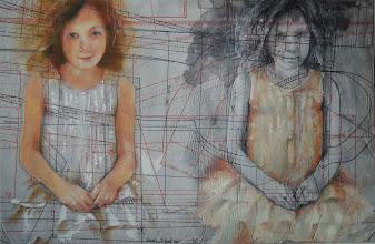 Photo: + & - (positivo negativo)  anno 2011 36x43 olio su carta applicata su tavola   collezione privata © tutti i diritti riservati