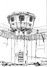 Photo: 崗樓2010.11.09鋼筆 一早就到外圍收巡邏表,從圍壁內看崗樓總有著被監視的感覺…