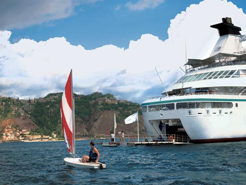 To really stay in shape, take advantage of marina water sports activities on some ships, such as on this Windstar sailing.