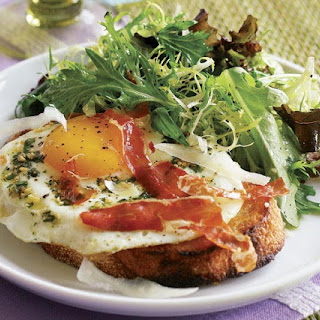 Garlic & Herb Fried Eggs on Toasts with Prosciutto Crisps