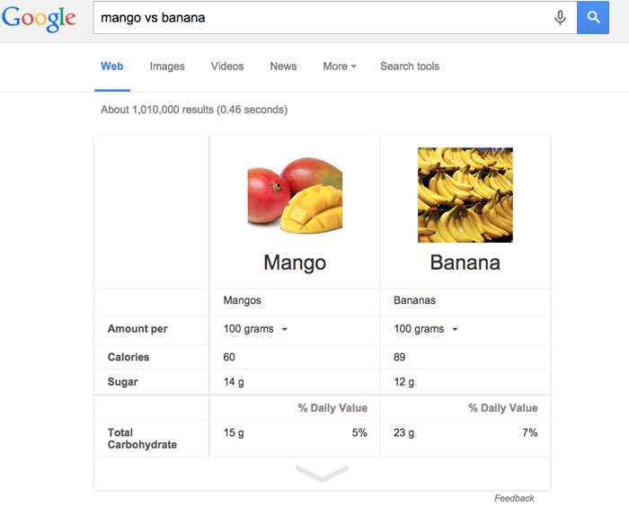 google tips and tricks - food comparison