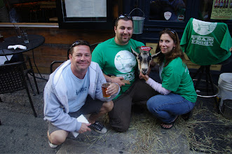 """Photo: Peggy the Goat at Bar with Corey Reid (Sly Fox) and """"Team Peggy"""" from the annual Goat Races and Bock Festival at Sly Fox."""