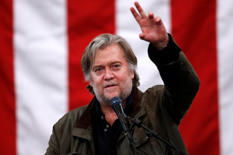 Former White House Chief Strategist Steve Bannon speaks during a campaign rally for Republican candidate for US Senate Judge Roy Moore in Midland City, Alabama on December 11, 2017. Picture: REUTERS/JONATHAN BACHMAN