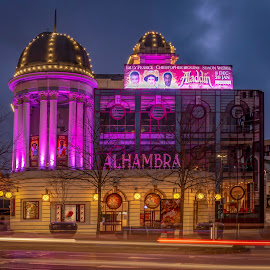 Alhambra Theatre by Darrell Evans - Buildings & Architecture Public & Historical ( town, yorkshire, entertainment, old, walkway, clouds, dome, trees, building, outdoor, path, signs, road, uk, theater, playhouse, illuminated, alhambra, bradford, lights, architecture )