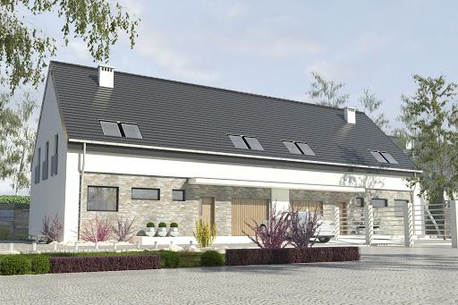 projekt Bernikla z garażem 2-st. bliźniak A-BL1