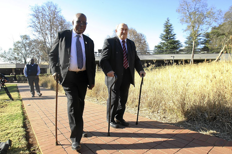 Rivonia triallists Andrew Mlangeni and Denis Goldberg revisited Liliesleaf Farm in 2014.