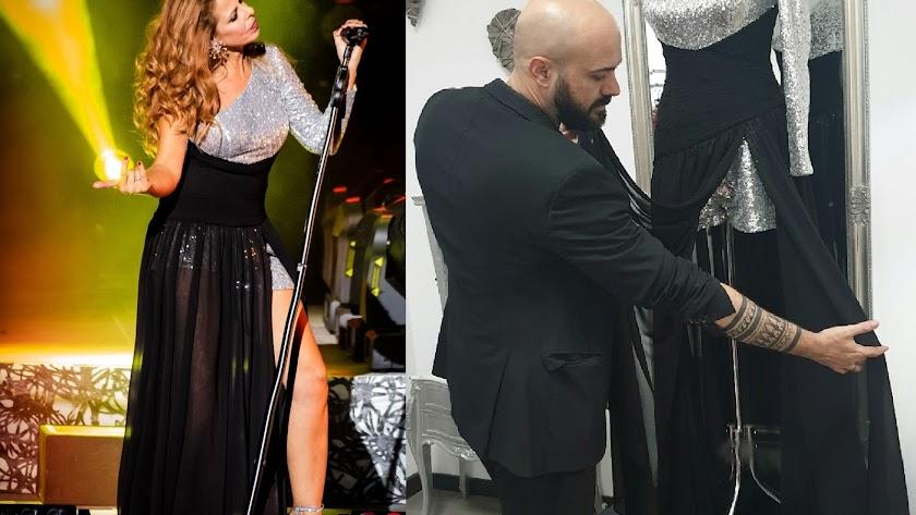 Pastora Soler en su inicio de gira y Sergi Regal mostrando su creación, como muestra la foto de Isidoro P.