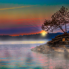 Rocky Point Sunrise by Eugene Linzy - Landscapes Waterscapes ( water, dawn, tree, lake, sunrise, mist )