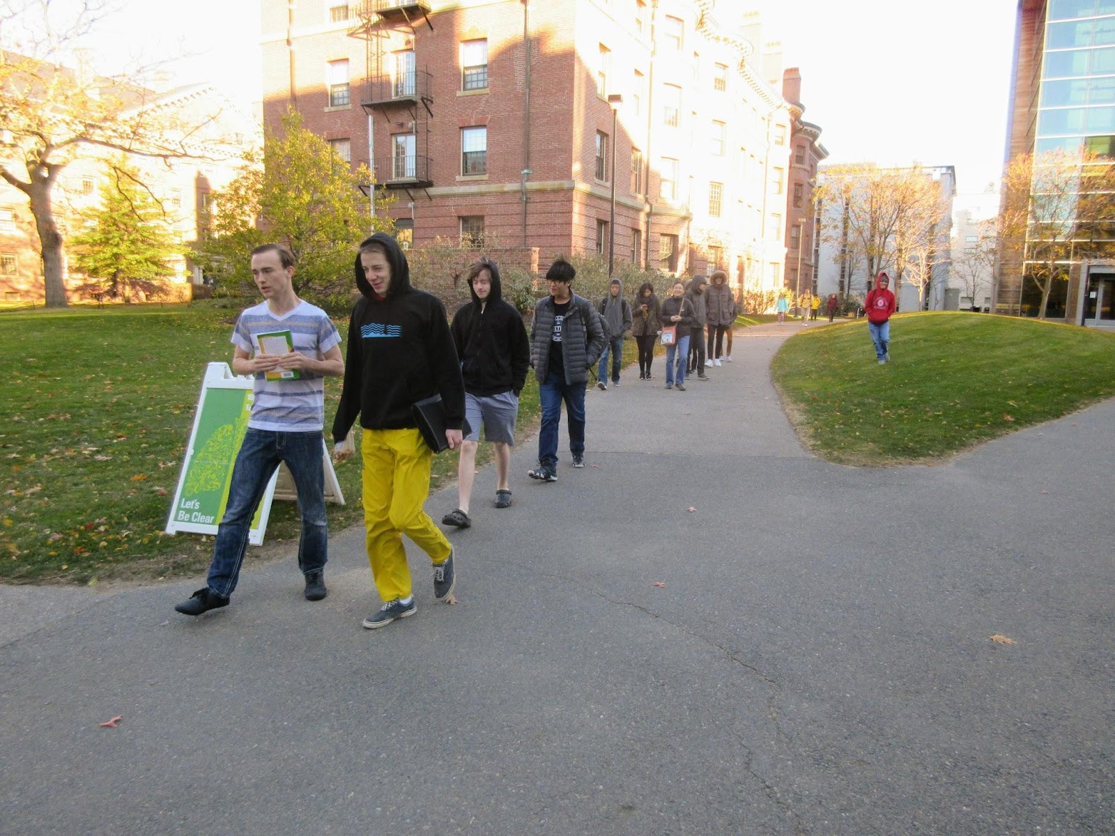 Marching across the Harvard campus on the way to the tournament.