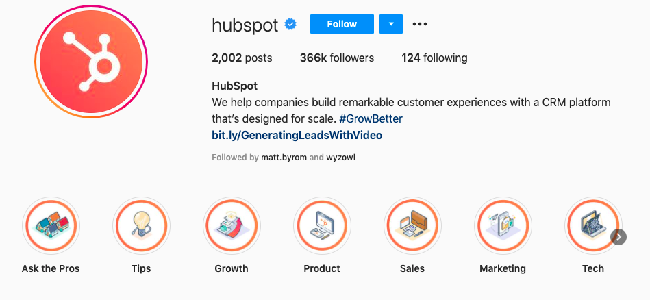 HubSpot Instagram profile