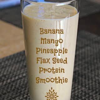 Banana Mango Pineapple Protein Smoothie.