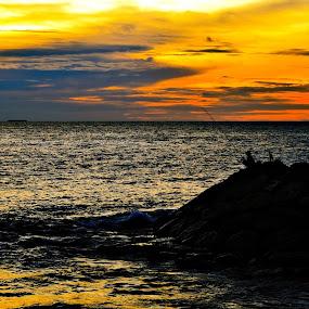 Fishing at dusk by Fathar Alex - Landscapes Sunsets & Sunrises