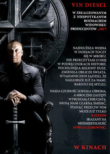 Tył ulotki filmu 'Łowca Czarownic'