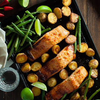 One Tray Oven Baked Honey Chili Lime Salmon with Potatoes and Beans Recipe