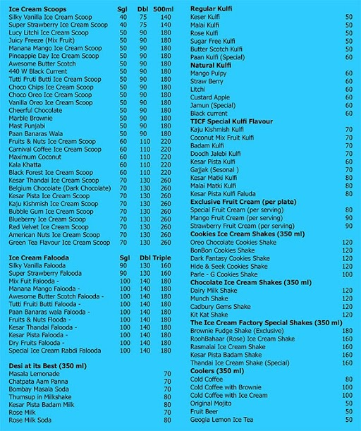 The Ice Cream Factory menu 3
