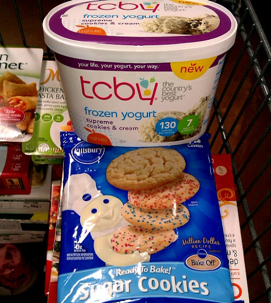 Photo: I chose sugar cookies for these ice cream sandwiches because I didn't want to take away from the cookies and cream flavor of the frozen yogurt. I was worried a chocolate chip cookie would distract from the cookie pieces in the frozen yogurt. Those cookie pieces are one of my husband's favorite things about the flavor!  So for $6.56 I had all of the basic ingredients to make 12 homemade ice cream sandwiches! That is about 55 cents per sandwich and is actually less because you will have frozen yogurt left at the end! This is definitely a great way to have affordable family fun this summer!