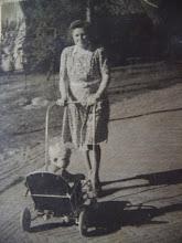 Photo: M. Hilberts-Boelens met Lute in de wandelwagen