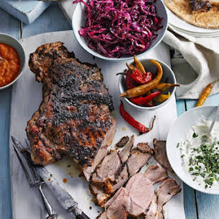 Lamb Shawarma With Pickled Red Cabbage And Harissa Dressing.