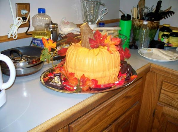 Use large tray to set you pumpkin cake on so you'll have lots of...