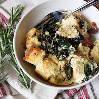 Savory Parmesan Bread Pudding with Bacon, Kale, and Rosemary.
