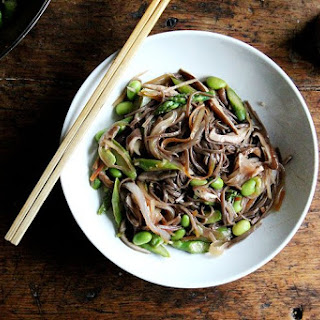 Vegetable Chow Mein-ish with Asparagus, Shiitakes, and Edamame