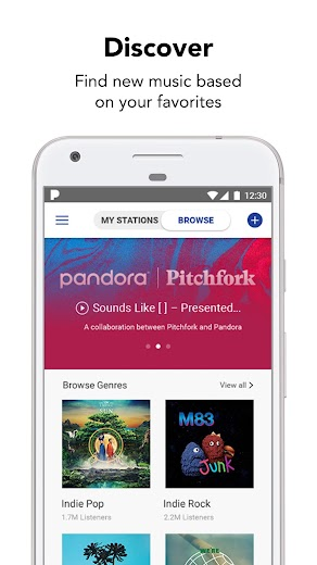 Screenshot 1 for Pandora's Android app'