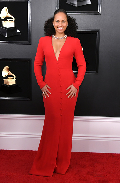 Alicia Keys on the red carpet at the 2019 Grammy Awards.