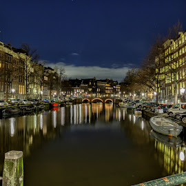 Amsterdam at night by Cora Lea - City,  Street & Park  Night (  )