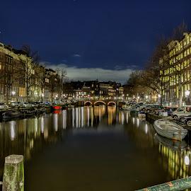 Amsterdam at night by Cora Lea - City,  Street & Park  Night (  )