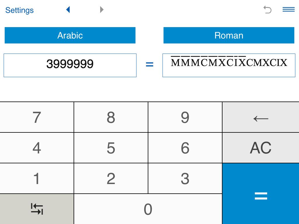 Roman numerals calculator - Roman Numerals Pro Screenshot