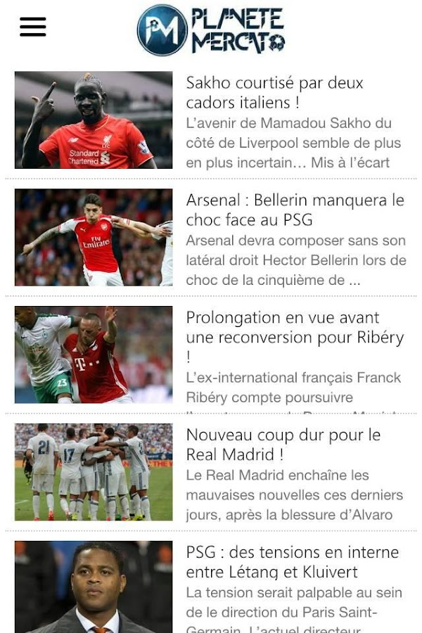 Planete Mercato : infos foot- screenshot